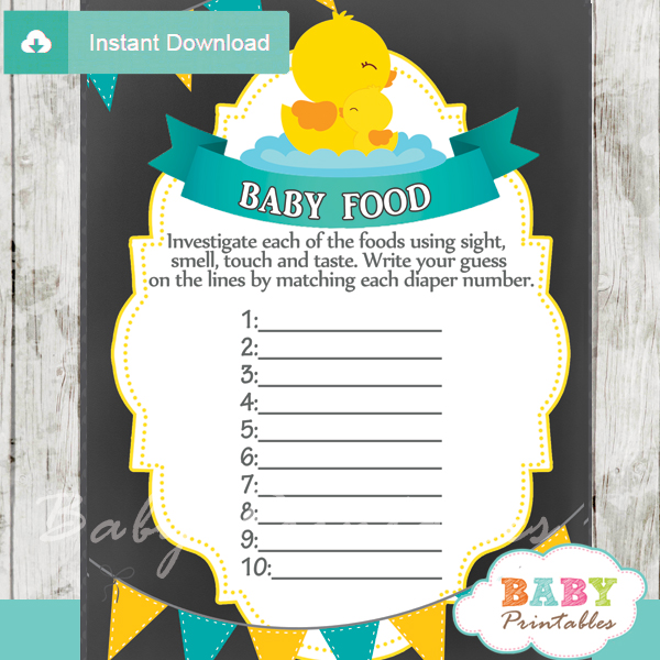 photo relating to Rubber Ducky Printable referred to as Chalkboard Rubber Ducky Kid Boy Shower Online games - D140 - Little one