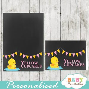 chalkboard yellow rubber duck printable food label cards for girl baby shower