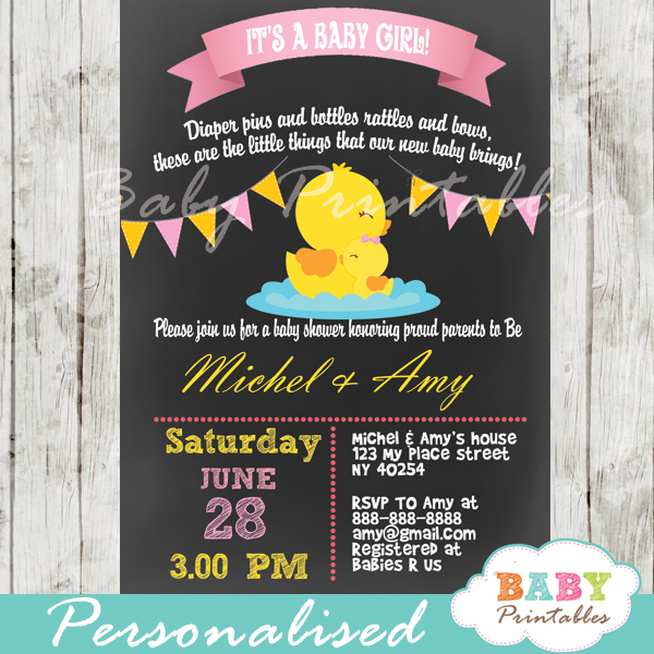 personalized baby girl rubber duck chalkboard baby shower invitation printable