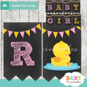 printable yellow rubber ducky personalized baby shower girl banner decor