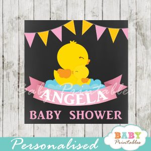 baby girl yellow rubber duck printable chalkboard baby shower gift labels for favors