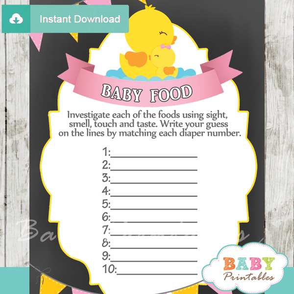 rubber ducky printable baby shower games blind tasting baby food