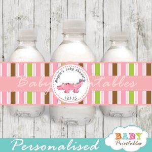 personalized pink crocodile baby shower bottle wrappers