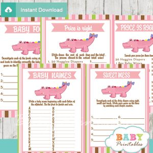 printable pink crocodile gator baby shower fun games ideas
