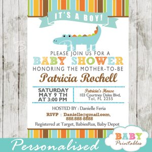 personalized gator blue crocodile boy baby shower invitation printable