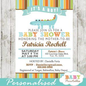 personalized gator blue crocodile boy baby shower invitation printable