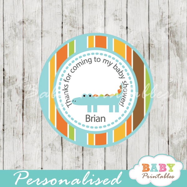 personalized blue croc baby shower tags for baby boy