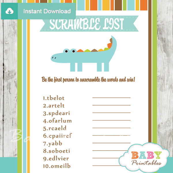 crocodile printable word scramble baby shower games