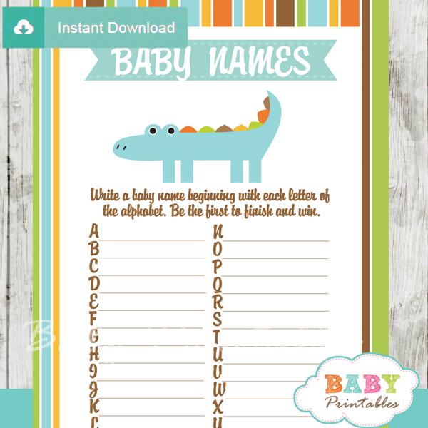 printable crocodile Name Race Baby Shower Game