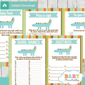printable blue crocodile gator baby shower fun games ideas