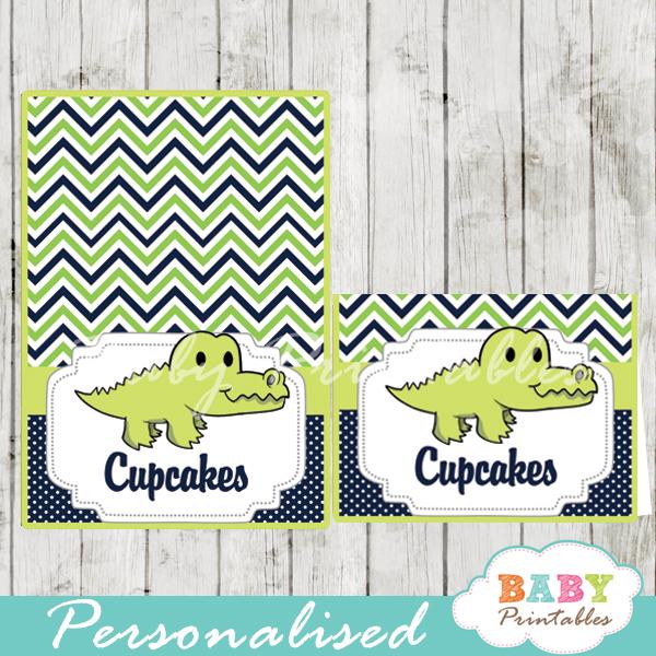 printable food labels crocodile baby shower gator boy