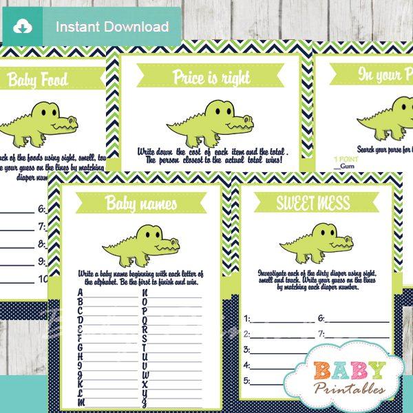 printable preppy crocodile gator baby shower fun games ideas
