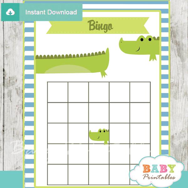 printable crocodile themed baby shower bingo games cards