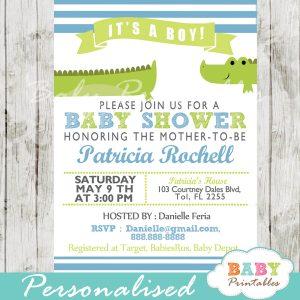 crocodile lime green sky blue crocodile boy baby shower invitation printable