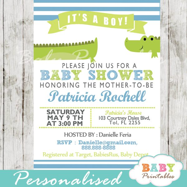 image relating to Baby Shower Invitation Printable named Lime Environmentally friendly Blue Alligator Youngster Shower Invitation - D145