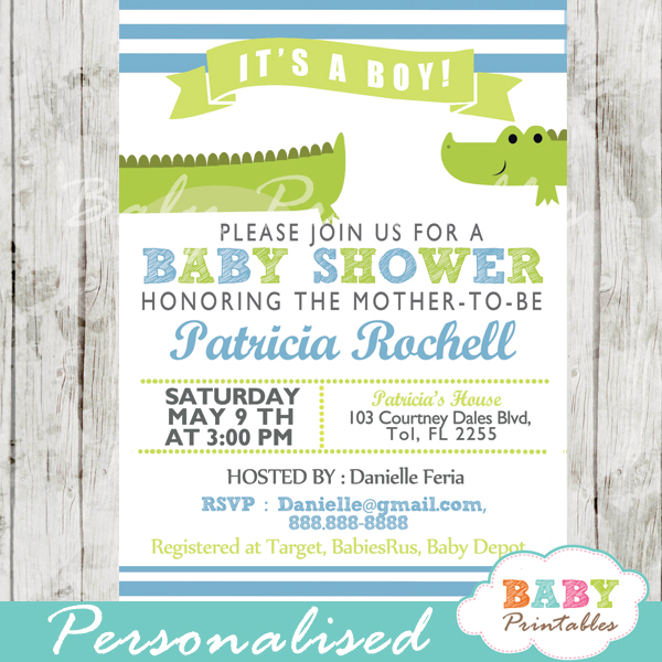 Lime Green Amp Blue Alligator Baby Shower Invitation D145