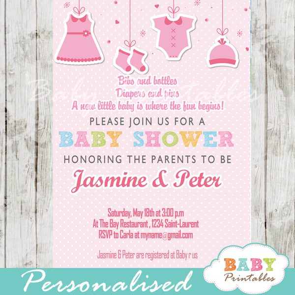 Pink Clothesline Baby Shower Invitation D150 Baby Printables
