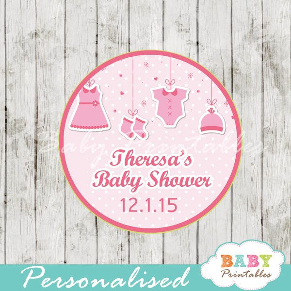 graphic relating to Baby Shower Tags Printable known as Red Clothesline Little one Shower Prefer Tags - D150