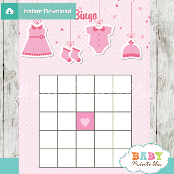 Pink Clothesline Baby Shower Games D150 Baby Printables