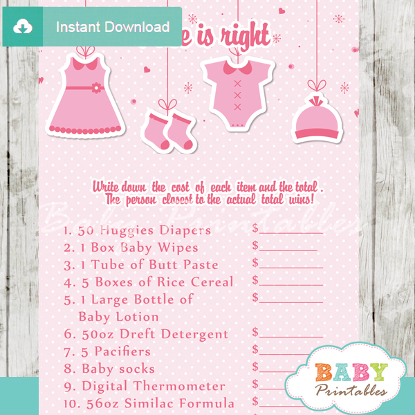 Pink Clothesline Baby Shower Games Bundle D150 on unique baby shower themes