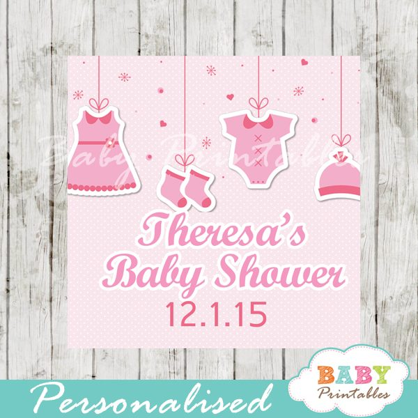 picture relating to Clothing Tags Printable known as Crimson Clothesline Child Shower Sq. Labels - D150
