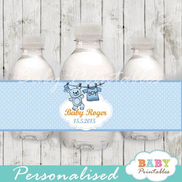 Blue Clothesline Baby Shower Bottle Labels D151