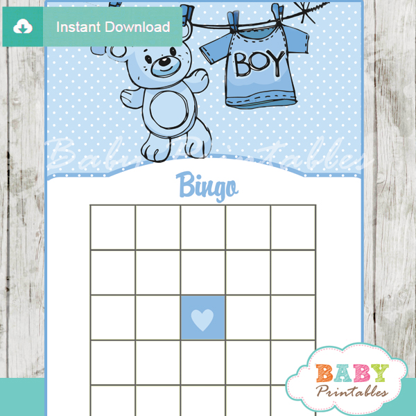 Blue Clothesline Baby Shower Games - D151 - Baby Printables