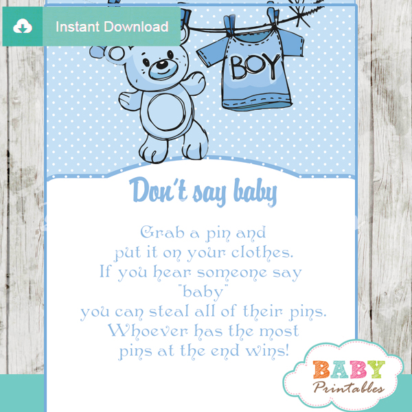 picture regarding Don't Say Baby Sign Free Printable called Blue Clothesline Youngster Shower Video games - D151 - Child Printables