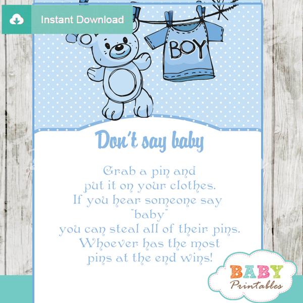 Blue Clothesline Baby Shower Games Bundle – D151