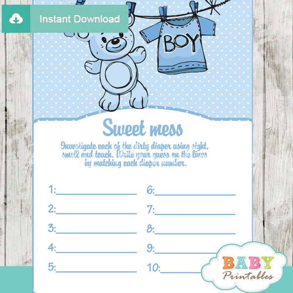 blue baby boy clothes themed Baby Shower Game What's That Sweet Mess Dirty Diaper Shower Game