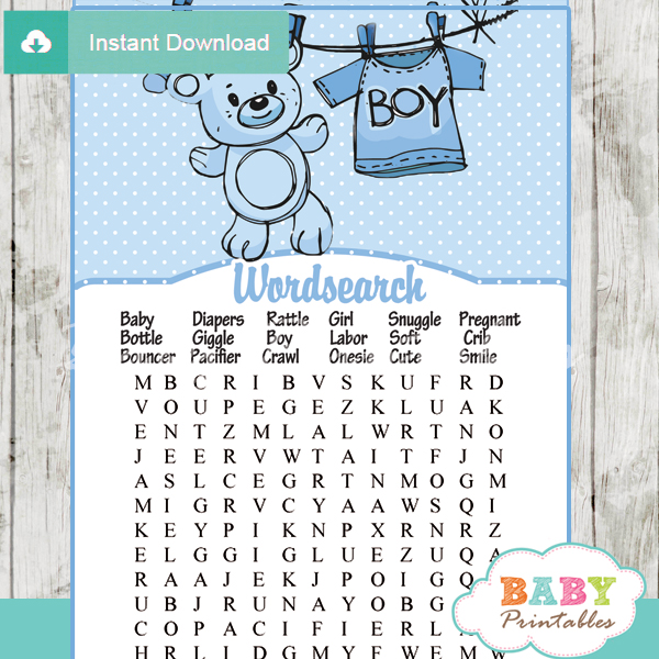 Blue Clothesline Baby Shower Games Bundle - D151 - Baby Printables