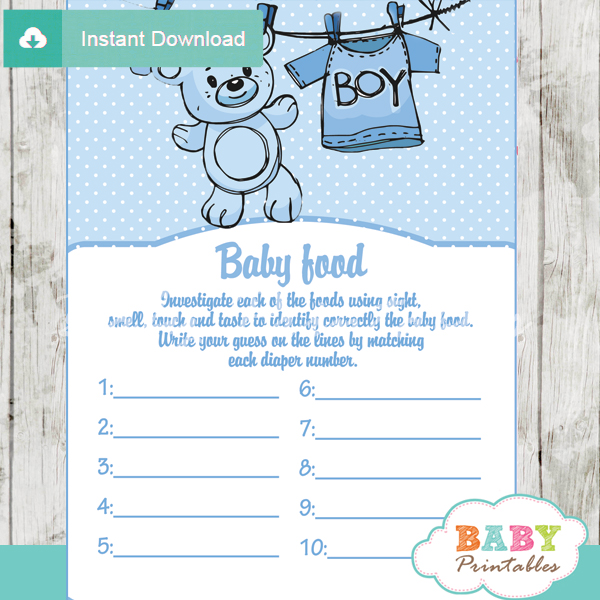picture regarding Guess the Baby Food Game Free Printable named Blue Clothesline Boy or girl Shower Online games - D151 - Little one Printables