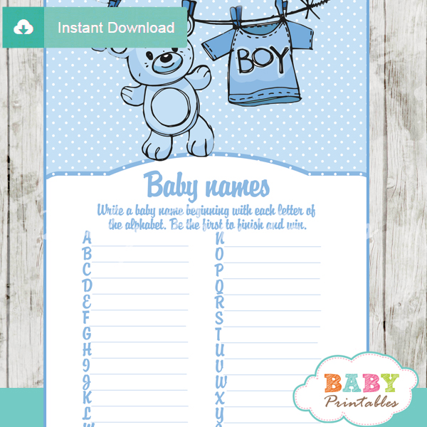 blue clothesline baby shower games bundle d151 baby printables