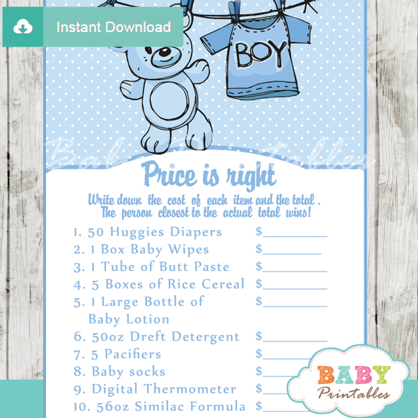 photograph relating to Price is Right Baby Shower Game Printable named Blue Clothesline Boy or girl Shower Online games - D151 - Boy or girl Printables