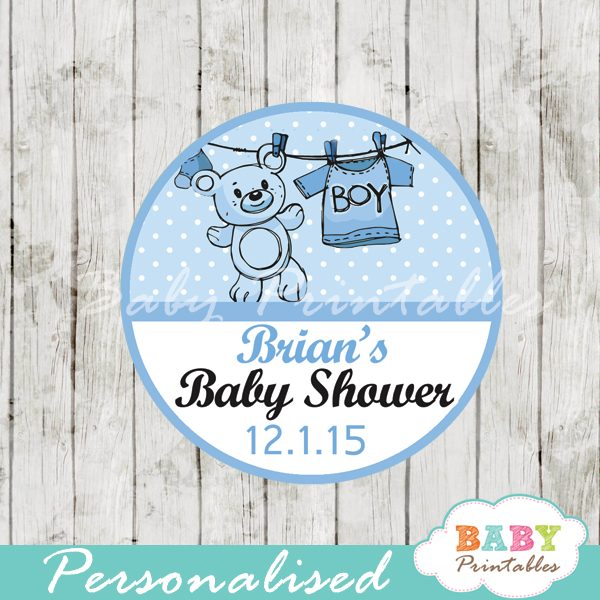 picture relating to Printable Baby Shower Tags named Blue Clothesline Kid Shower Prefer Tags - D151