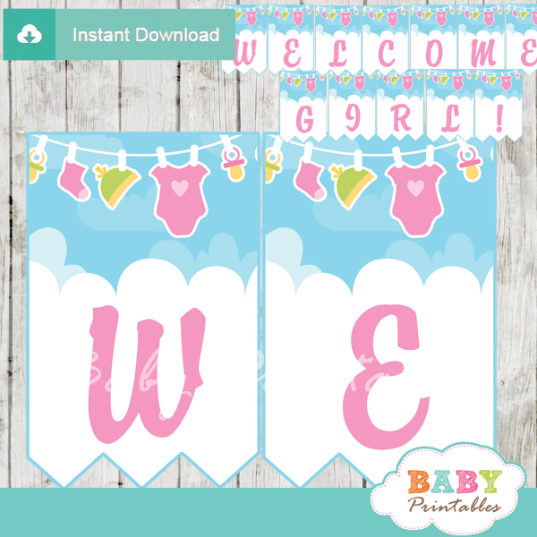 Pink Green Baby Girl Clothes Baby Shower Banner D152