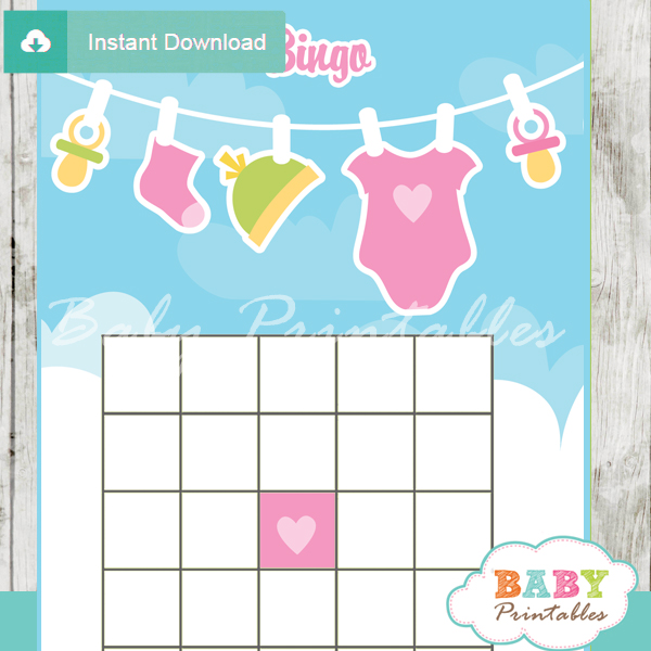 printable pink green baby girl clothes themed baby shower bingo games cards