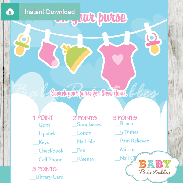 baby girl clothes themed printable baby shower games what's in your purse