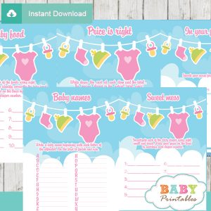 printable pink green clothes baby shower fun games ideas