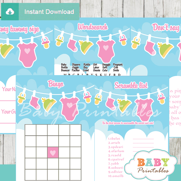 printable pink green clothes themed baby shower games package