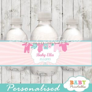 personalized pink baby girl clothes baby shower bottle wrappers