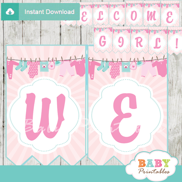 Pink tiffany blue clothesline baby shower banner d153 Baby shower banners