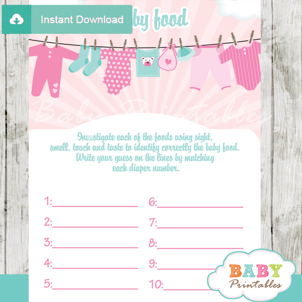 baby girl clothes printable baby shower games blind tasting baby food