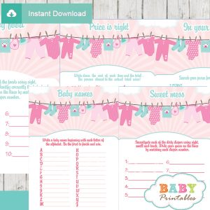 printable pink tiffany clothes baby shower fun games ideas