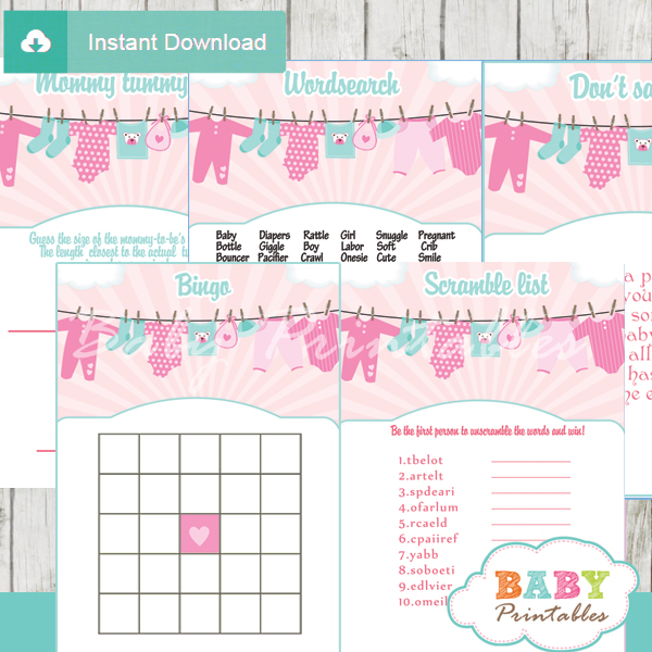 printable baby girl clothes themed baby shower games package
