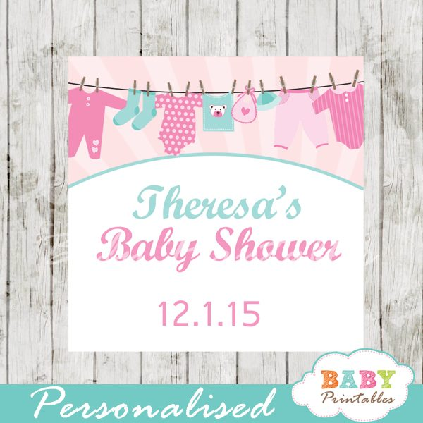 graphic relating to Printable Baby Shower Labels called Red Tiffany Blue Clothesline Little one Shower Sq. Labels - D153