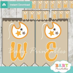 printable welcome baby boy decoration baby shower banner