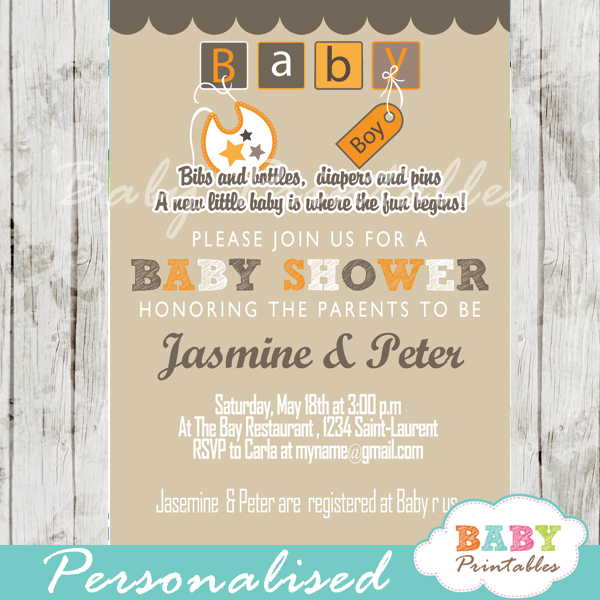 Orange brown baby blocks baby shower invitation d154 baby diy baby block letters baby shower invitation printable filmwisefo