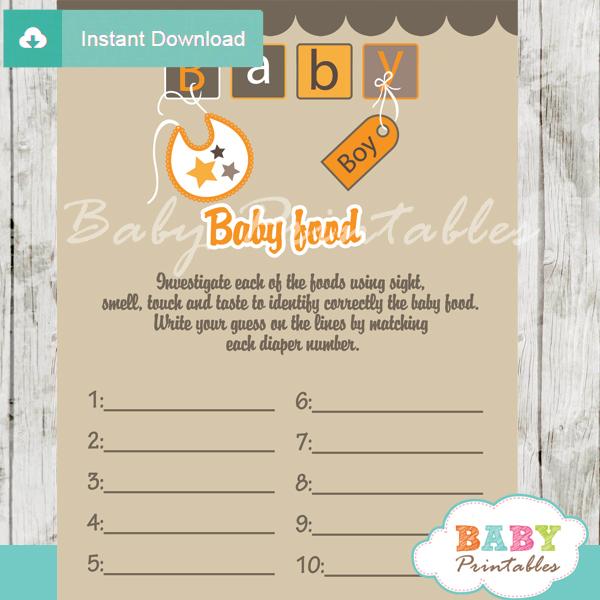 baby letter blocks printable baby shower games blind tasting baby food
