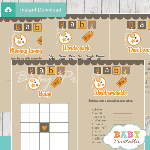 printable baby blocks themed baby shower games package
